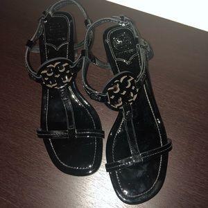 Tory Burch Block Heels in Black Patent